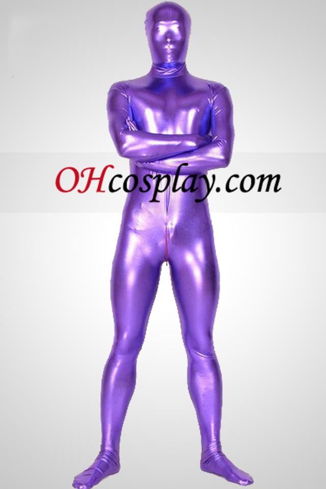 Purple Shiny Metallic Unisex Zentai Suit