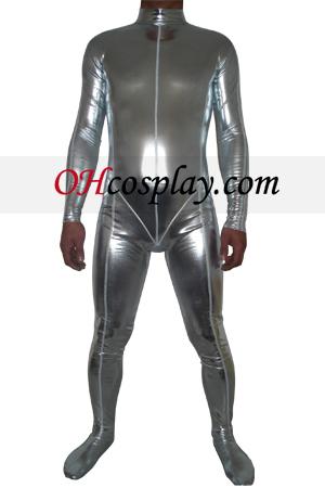 Silver Shiny Metallic Zentai Suit