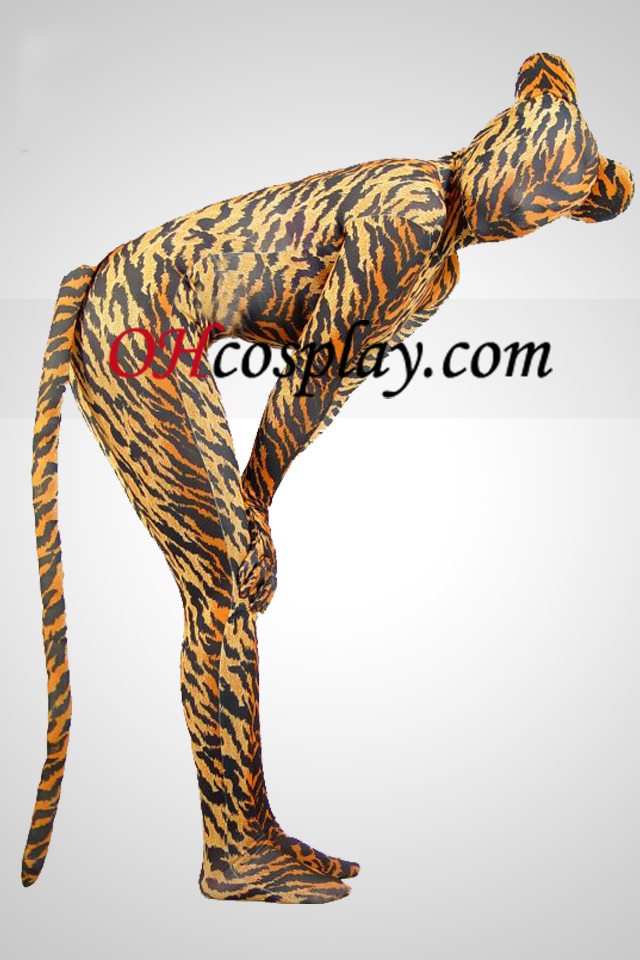 Tiger Skin Lycra Spandex Unisex Zentai Suit Med Tail