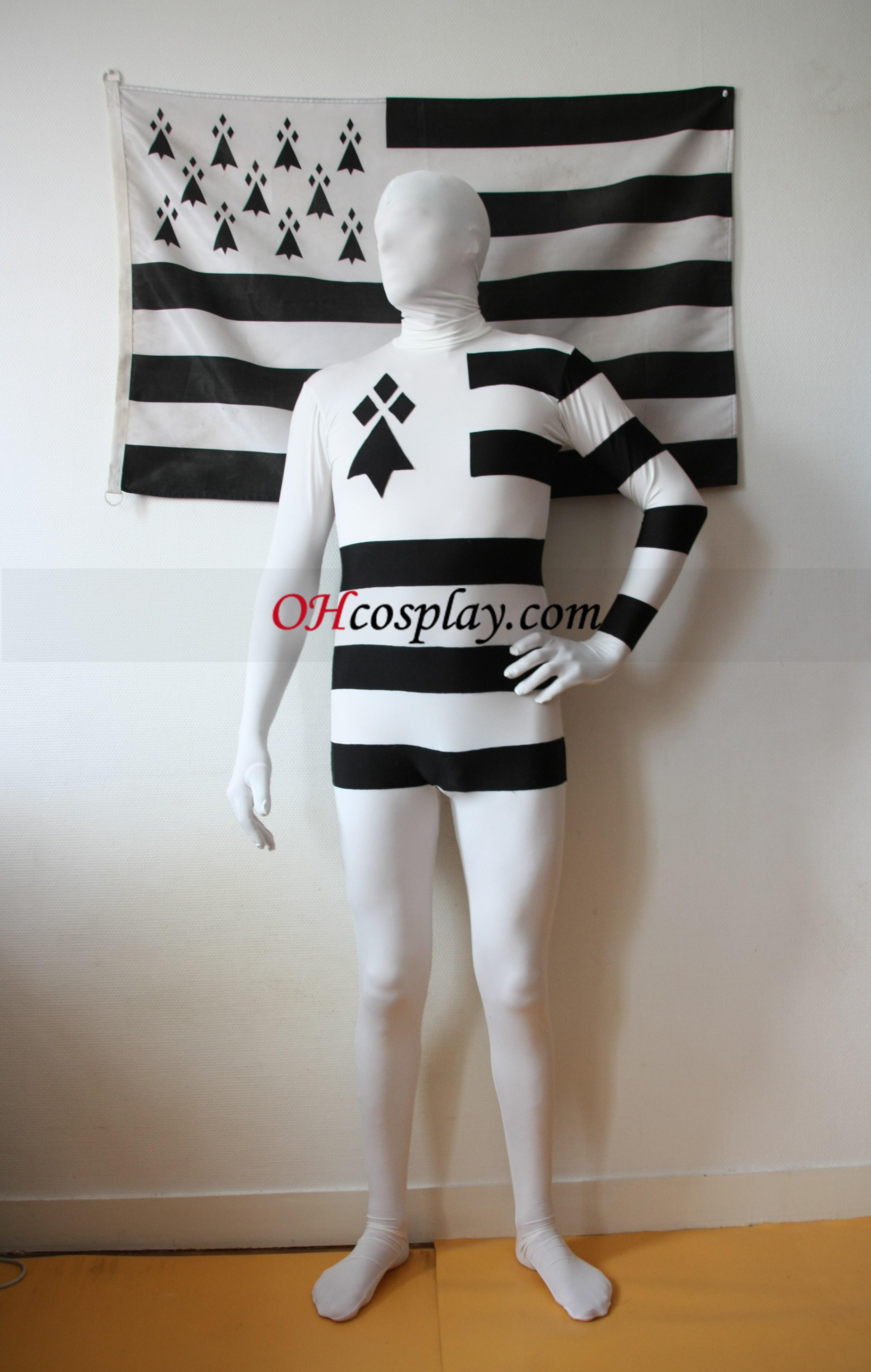 France Bretagne White Black Stripes Spandex Zentai Suit
