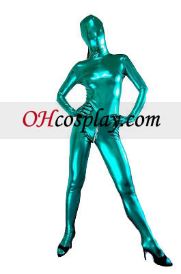 Green Sexy Back Zippered Shiny Metallic Zentai