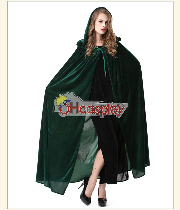 Holloween Witch Cosplay Green Cloak