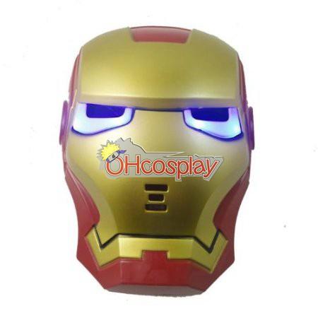Máscara del hombre del hierro de Cosplay (Ojos Luminosos)