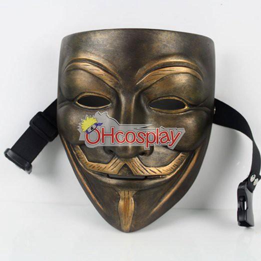 V for Vendetta Cosplay Máscara de bronce