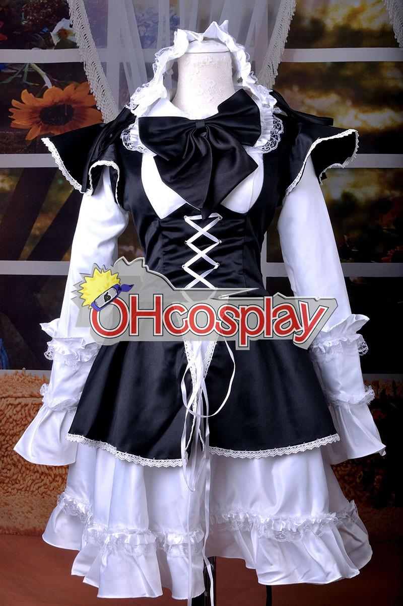 Maid Negro vestido lolita cosplay traje