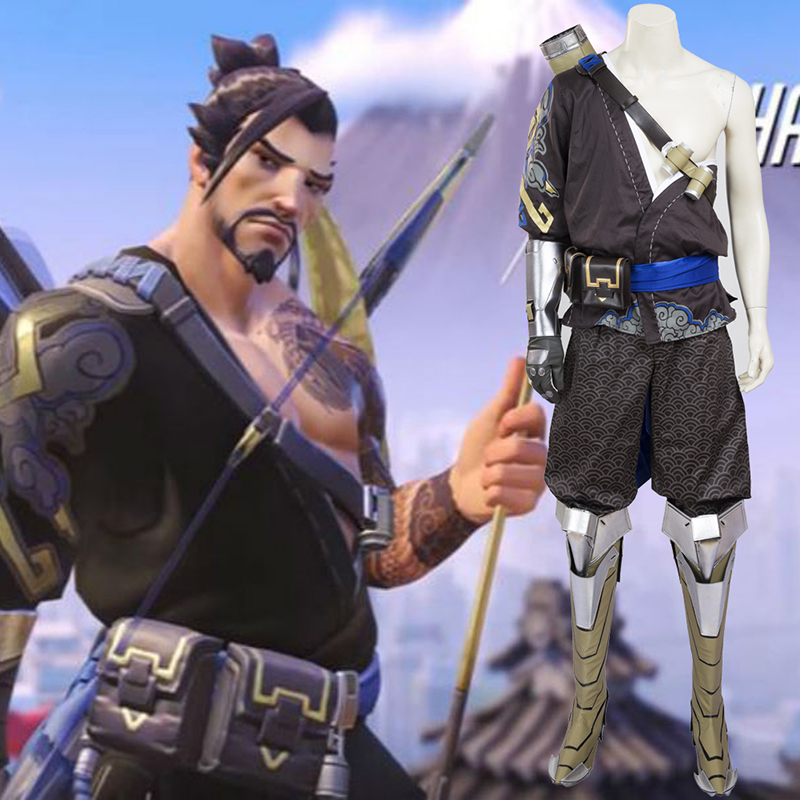 Game Overwatch Hanzo Cosplay Costumes Coat + Pants