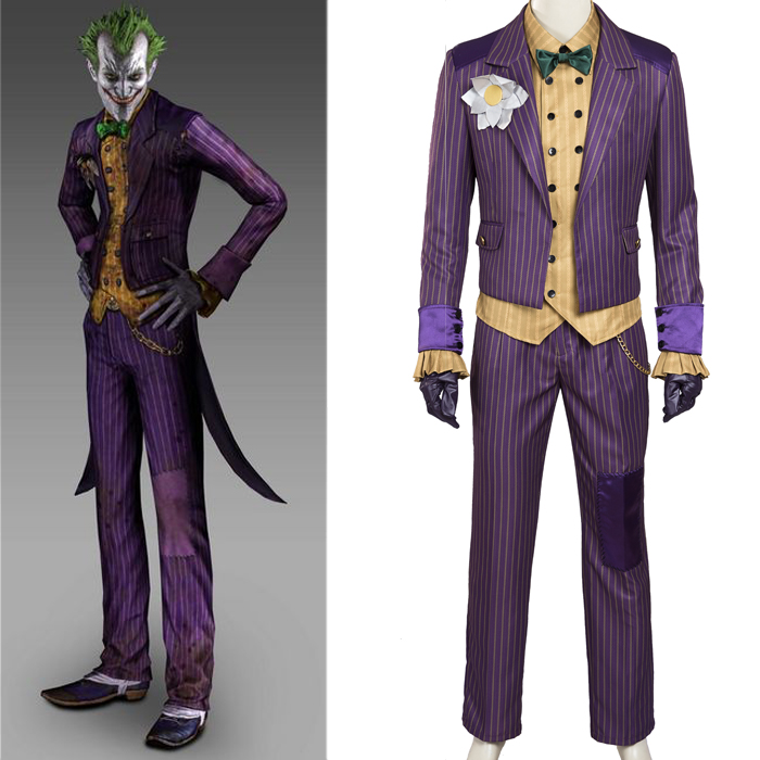 Batman: Arkham Asylum Joker Cosplay Costumes Full Set