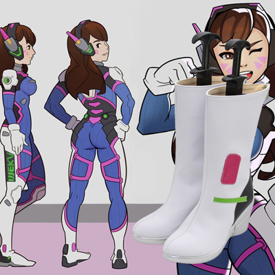 Overwatch OW D.Va Cosplay White Boots Shoes