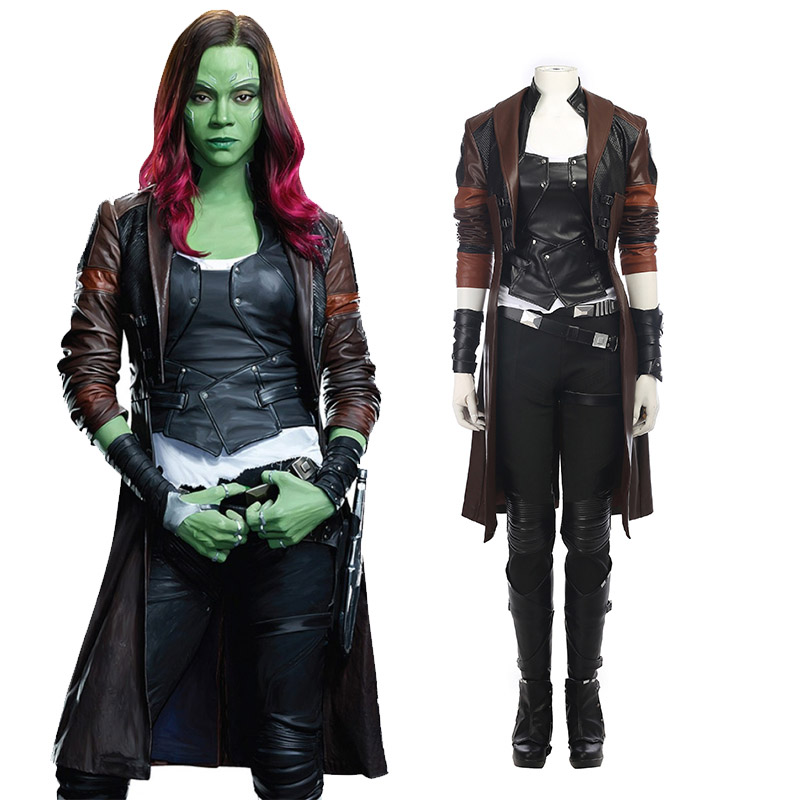 Guardians of the Galaxy 2 Gamora Zen Whoberi Ben Titan Cosplay Kostymer Hela Set Karneval