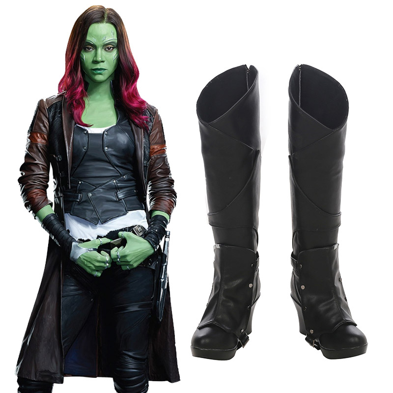 Guardians of the Galaxy 2 Gamora Zen Whoberi Ben Titan Cosplay Skor Stövlar Karneval