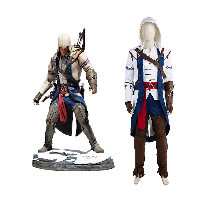 Assassin's Creed III Kenway Connor Cosplay asut Koko setti Naamiaisasut