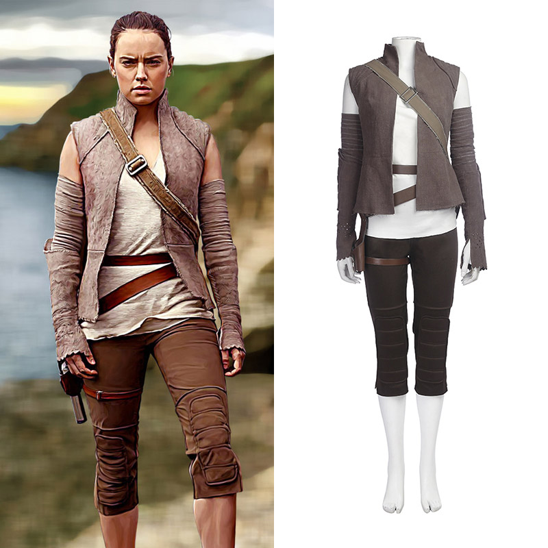 Star Wars 8: The Last Jedi Rey Cosplay Costume Ensemble Entier Carnaval