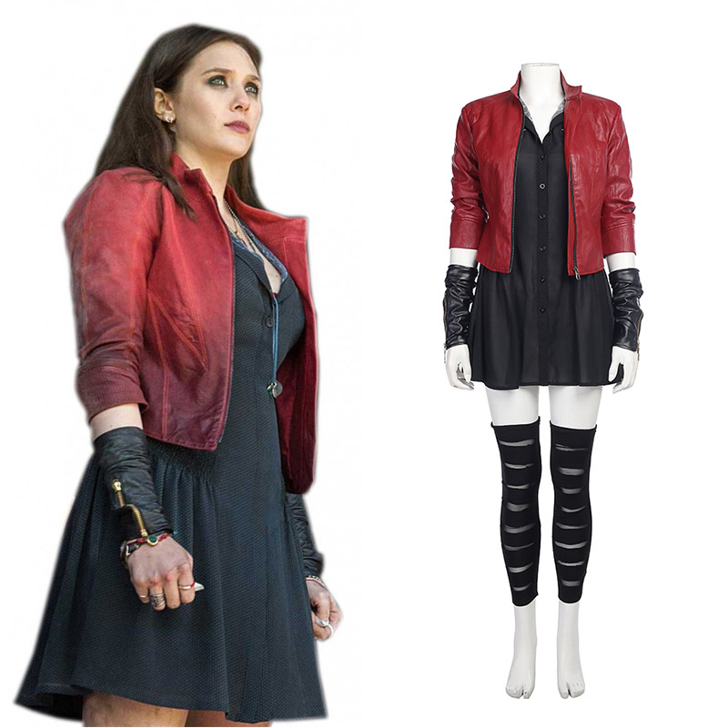 Marvel DC Comics Scarlet Witch Cosplay Costumes Full Set