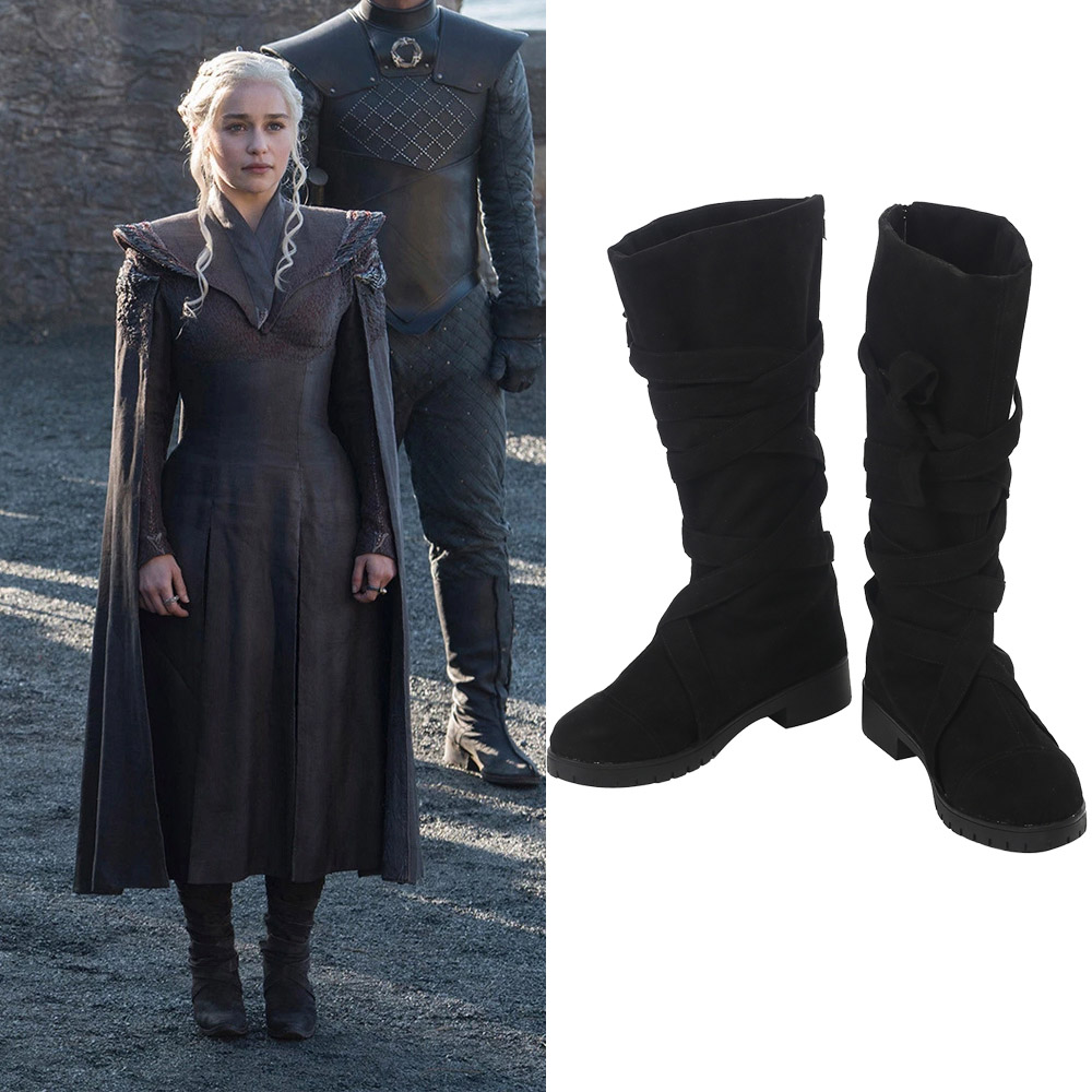 Game of Thrones Season 7 Daenerys Targaryen Cosplay Stövlar Mother of Dragons Karneval