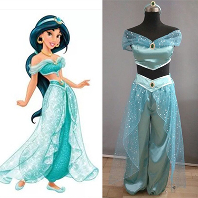 Aladdin Professional Jasmine cosplay Costumes Princess For Adult