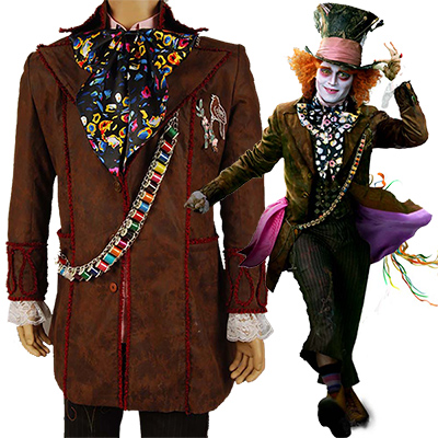 Costumi Alice In Wonderland Johnny Depp as Mad Hatter Abito Cosplay