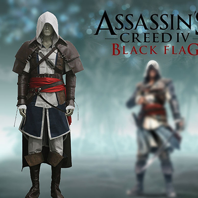 Assassin's Creed IV Edward Kenway Sort Flag Cosplay Kostume