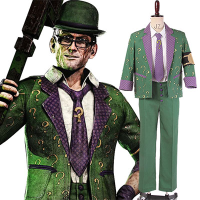 Batman: Arkham City The Riddler Dr.Edward Nigma Utrusta Cosplay Kostym