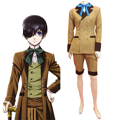 Black Butler Kuroshitsuji Ciel Phantomhive Gray Suit Cosplay Kostyme