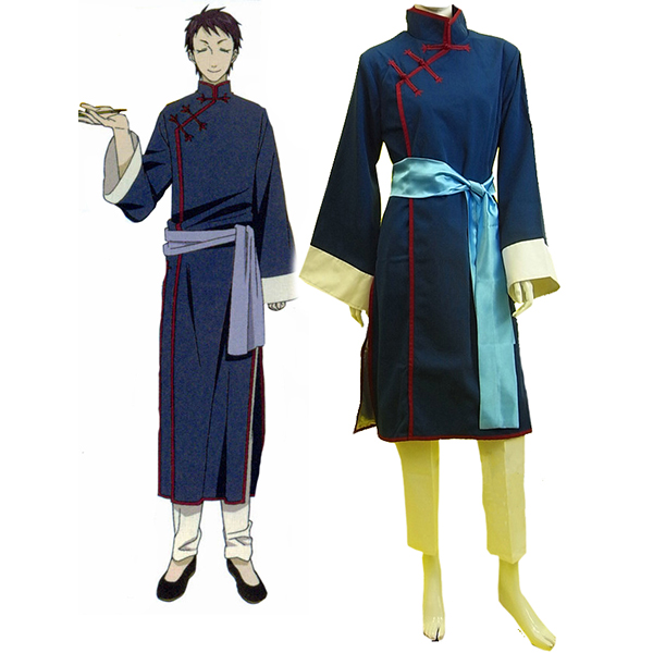 Black Butler Kuroshitsuji Lau Blå Cheongsam Cosplay Kostume
