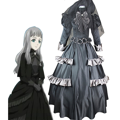Costume Black Butler Queen Victoria Noir Lolita Robes Cosplay Déguisement