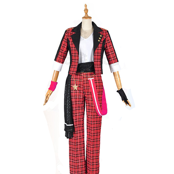 Disfraces Ensemble Stars Mao Isara Trickstar Rojo Plaid Trajes Cosplay