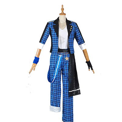 Ensemble Stars Mao Isara Trickstar Blå Plaid Suits Cosplay Kostym