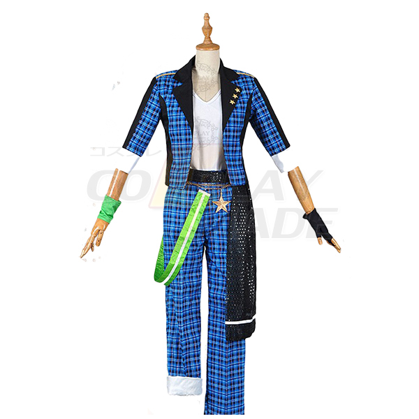 Costumi Ensemble Stars Mao Isara Trickstar Blu Plaid Abiti Cosplay
