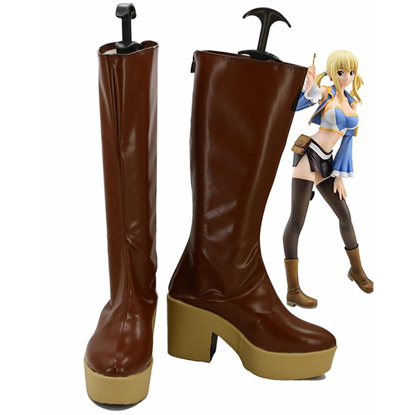 Fairy Tail Lucy Cosplay Boots Custom Made Brown Shoes