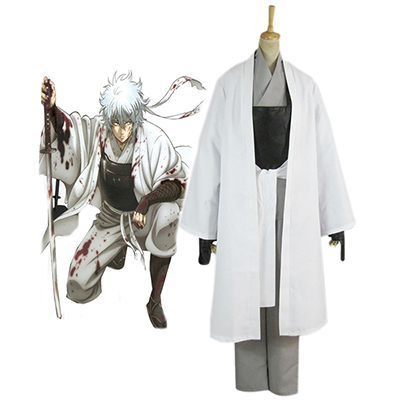 Gintama White Demon's Birth Sakata Gintoki Kimono Cosplay Kostym