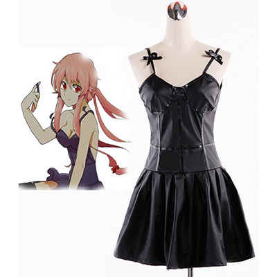Fantasias de The Future Diary Gasai Yuno Preto Vestir Cosplay