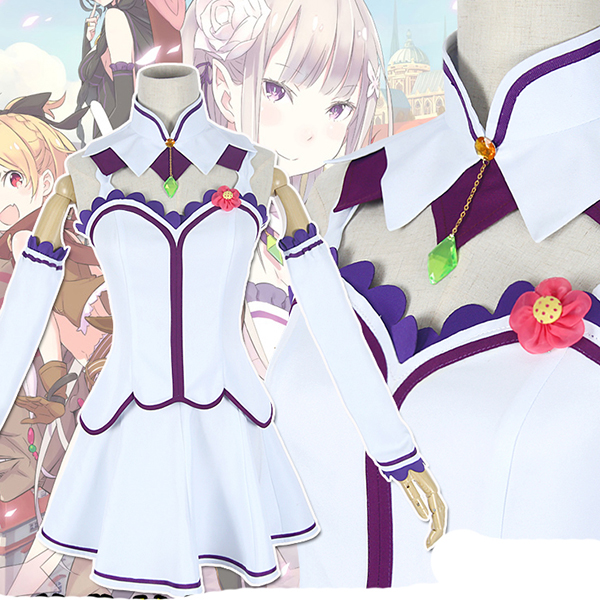 Re: Zero Life in a Different World from Zero Anime Emilia Cosplay Costume