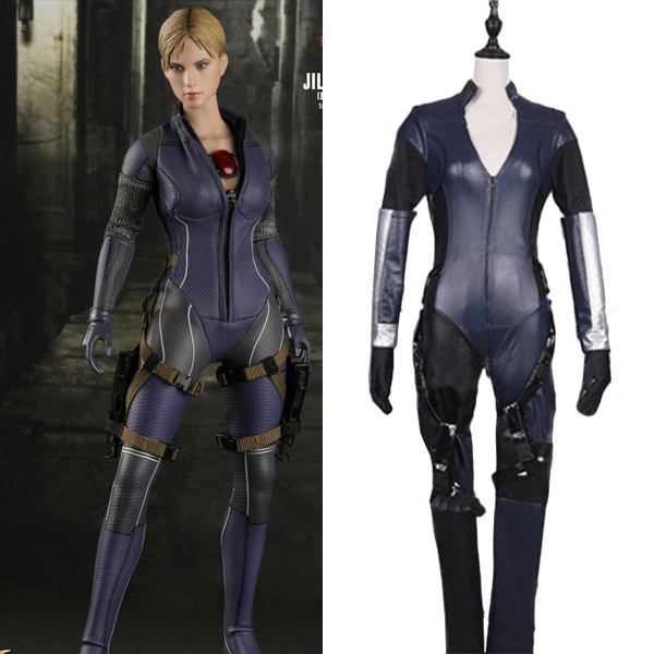 Resident Evil 5 Jill Valentine Cosplay Leather Costume Halloween