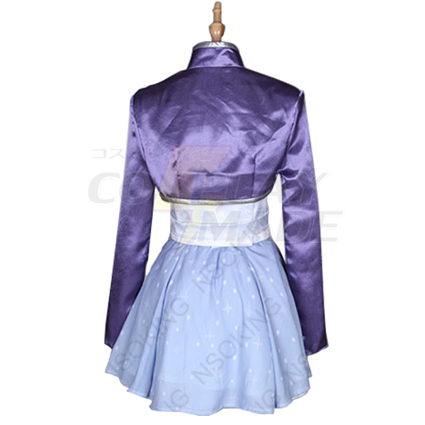 Anime RWBY White Weiss Schnee Cosplay Costume with Earring
