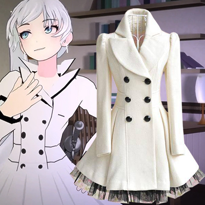 RWBY Weiss Schnee Cosplay Costume Female White Coat