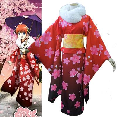 Gintama Kagura kimono Cosplay Kostym