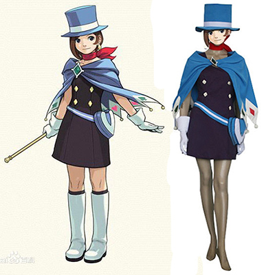Gyakuten Saiban Phoenix Wright Ace Attorney Trucy Wright Naruhodou Minuki Cosplay Kostym