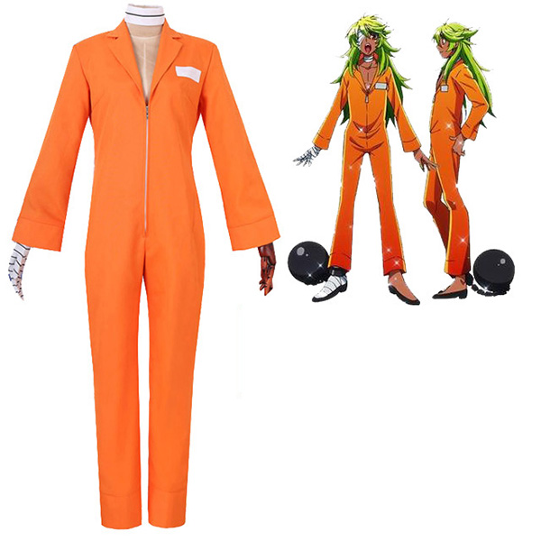Nanbaka NO.25 Niko Rock Jail Uniform Cosplay Costume Orange Anime
