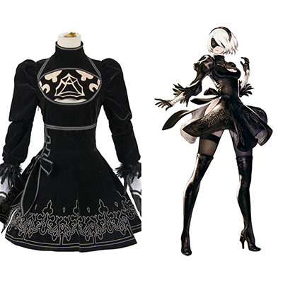 NieR: Automata 2B Uniform Dress Cosplay Costume Halloween Carnival