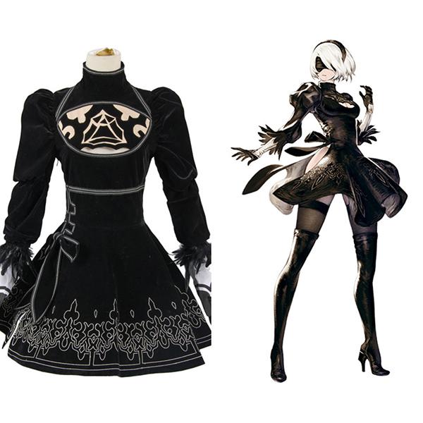 Costumi NieR: Automata 2B Uniforme Vestito Cosplay Halloween Carnevale