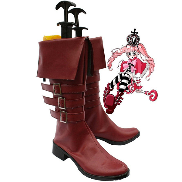 One Piece Anime Perona Cosplay Shoes Boots Custom Made Brown