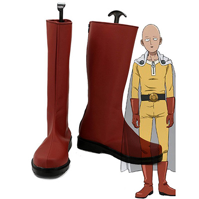 One Punch Man Caped Baldy Saitama Cosplay Skor Röd Stövlar Karneval