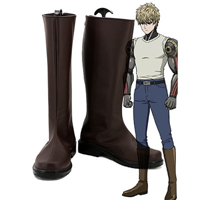 One Punch Man Demon Cyborg Genos Cosplay Skor Brun Stövlar Karneval