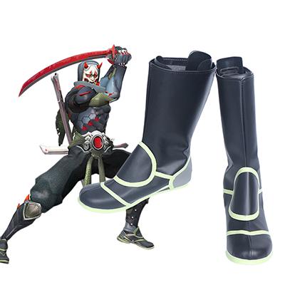 Overwatch OW Genji Skin Oni Cosply Laarzen Schoenen Speciaal Gemaakt