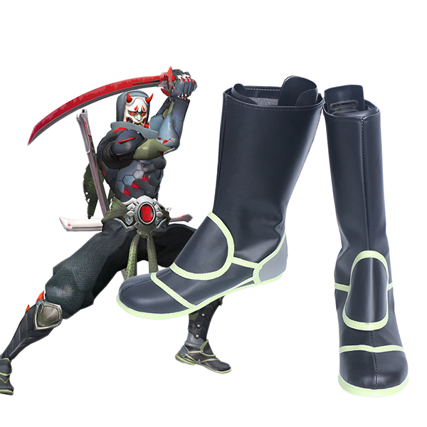 Overwatch OW Genji Skin Oni Cosply Boots Shoes Custom Made
