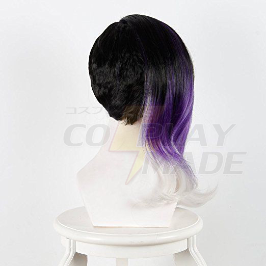 Pelucas Overwatch OW Sombra Cosplay Purple Ombre Negro White Curly Hair