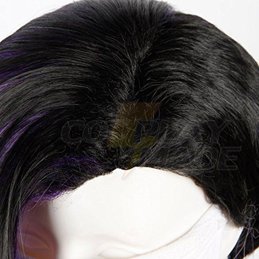 Overwatch OW Sombra Cosplay Wigs Purple Ombre Black White Curly Hair