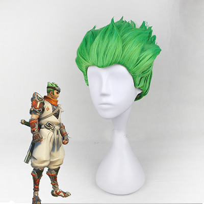 Overwatch Game OW Genji Green Styled Cosplay Wigs