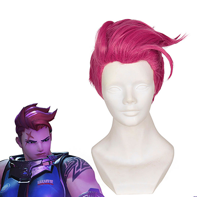 Overwatch OW Zarya Short Rose Rot Styled Faschings Cosplay Perücken Heat Resistent Haar Perücken