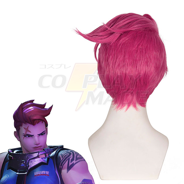 Overwatch OW Zarya Short Rose Red Styled Cosplay Wig Heat Resistent Hair Wigs